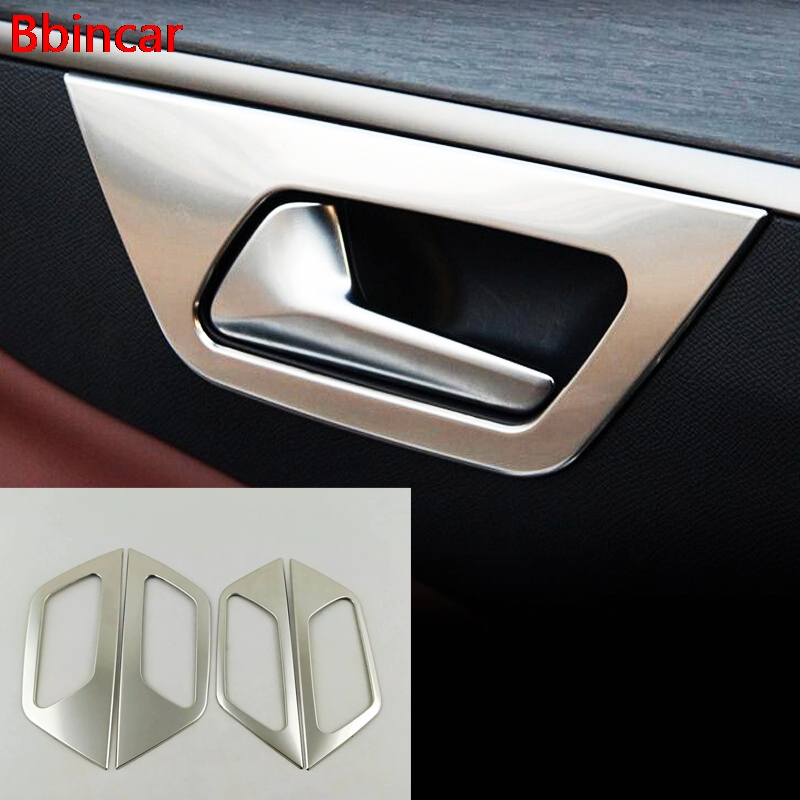 Bbincar Stainless Steel font b Interior b font Inner Door Handle Bowl Frame 4pcs For Peugeot