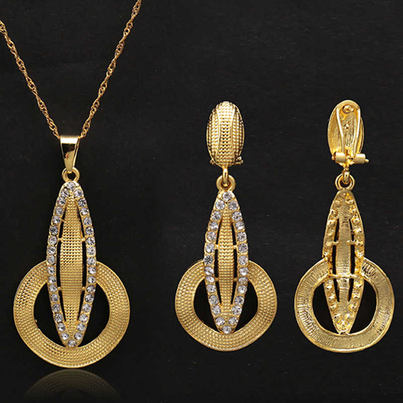 2018 Geometric metal Bridal Jewelry sets for Women gold Color Rhinestone Necklace earring Sets Wedding African Beads Jewelry Set