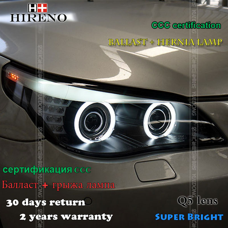 Hireno Headlamp for 2003-2010 BMW E60 520 523 525 530 Headlight Assembly LED DRL Angel Lens Double Beam HID Xenon 2pcs футболка lacoste lacoste la038emvvp29