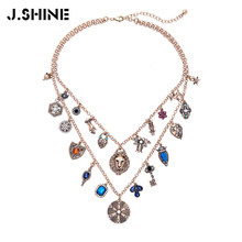 JShine Fashion Necklace for Women 2019 Statement Double Chains Layered Crystal Geometric Necklaces Pendants Vintage Jewelry fashion style double layered rhinestone circle love necklace for women