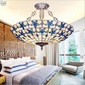 The new shell lilac blue Mediterranean restaurant lamps bedroom living room lamp crystal Pendant Lights  wwy-0364