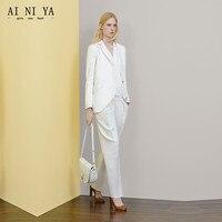 עיצובים אחידים במשרד מתאימים שני לחצני חדשות לבנים נשים גבירותיי מכנסיים חליפת Slim פורמליות 2 Piece בגדי עבודה נשית חליפות