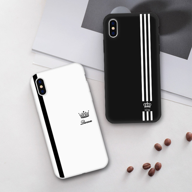 322041f75b King For Queen Lovers Romantic Black White Soft TPU Slim Black Cover Phone  Case For iPhone 6 6S 7Plus 8 Plus 5 X XR XS MAX Case