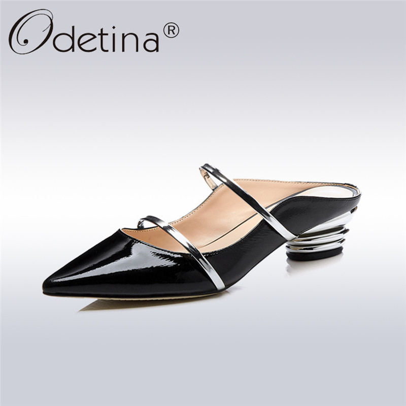 Odetina 2018 New Fashion Luxury Cow Leather Slippers Summer Women Mules Shallow Pointed Toes Med Heel Concise Dress Slide Shoes