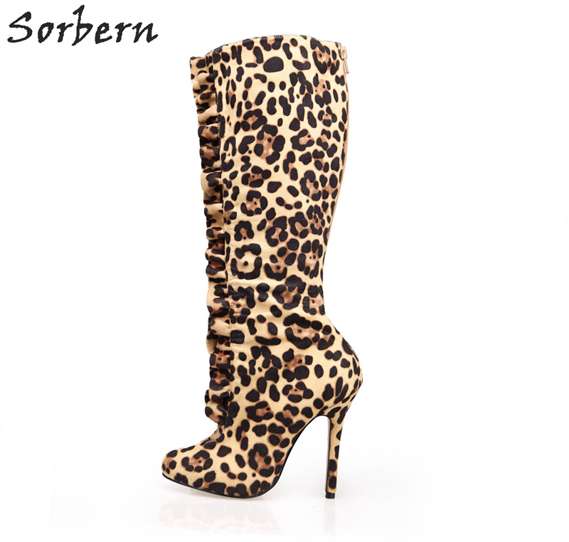 Sorbern Pleated Leopard Women Boots Winter High Heel Knee Boots Women Luxury Shoes Women Designers Wonder Woman Boots