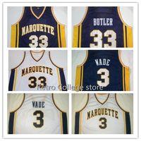 #3 Дуэйн Уэйд Маркетт Университет темно-сине-белые Баскетбол Джерси Вышивка сшитые персонализированные #33 Джимми Батлер Джерси