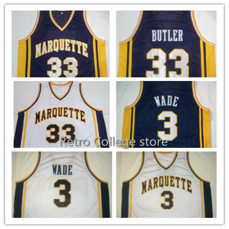 лучшая цена #3 DWYANE WADE Marquette University Navy Blue White Basketball Jersey Embroidery Stitched Personalized #33 Jimmy Butler jersey