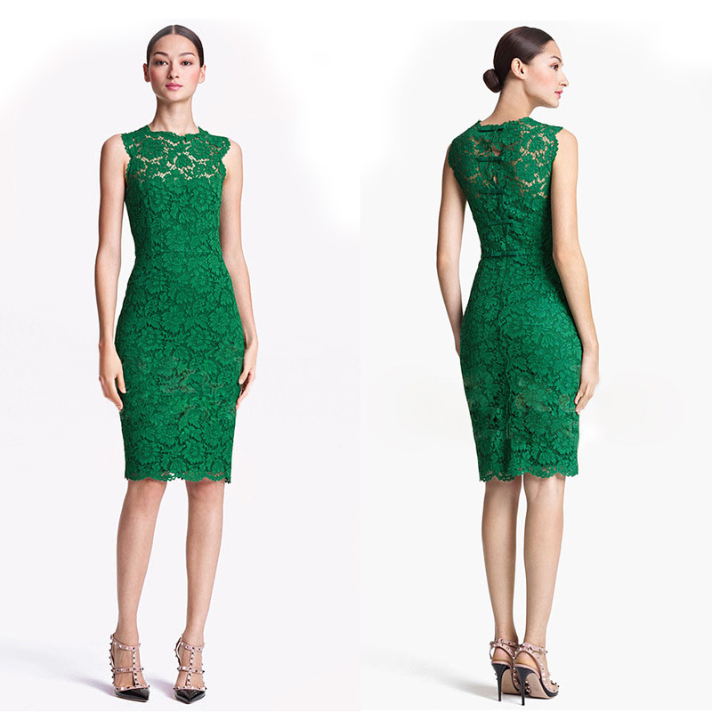 On Sale 2014 European Casual Hollow Green Lace Dress O ...