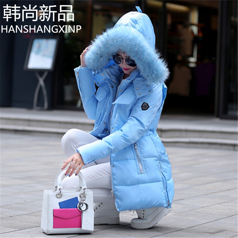 Hot Sale 2015 Women Big Fur Collar Coats Fashion Winter Slim Waist Wadded Jackets Women Plus Size Parkas Overcoats H4594 hot sale 2015 new mens fur hoolded wadded coats winter long cotton padded coats women couples winter jackets plus size h4590