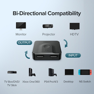 Image 4 - Ugreen HDMI dağıtıcı anahtarı çift yönlü 4K HDMI Switcher 1x 2/2x1 adaptörü 2 in 1 out dönüştürücü PS4/3 TV kutusu HDMI dağıtıcı