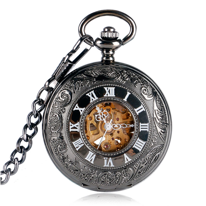 Black Antique Auto Mechanical Skeleton Pocket Watch Retro Roman Numerals Hollow Case Fashion Pendant Chain Male Clock + Gift Bag steampunk antique silver mechanical skeleton pocket watch mens women watches vintage hollow pendant chain clock gifts retro