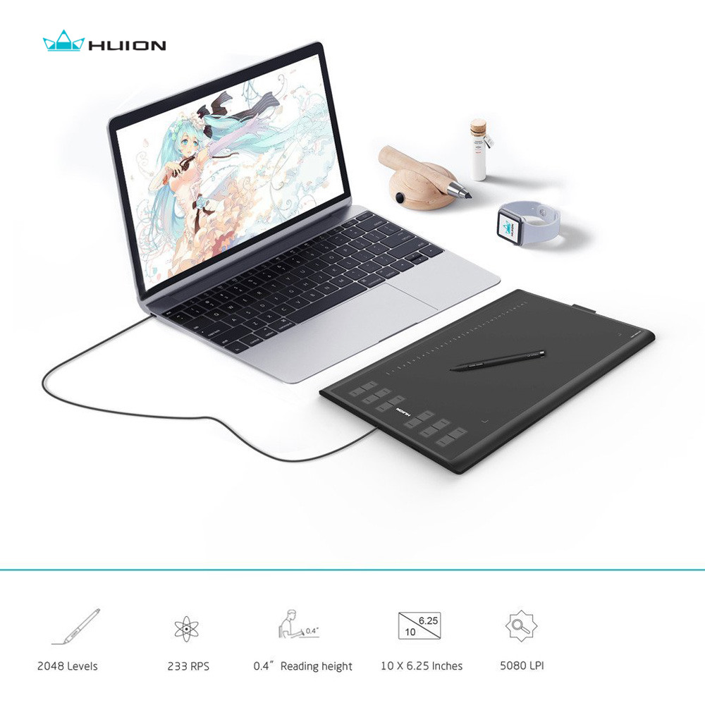 HUION New1060Plus 2048 Levels Graphic Tablets Digital Drawing Tablets Signature Pen Tablet with Film Gift цена