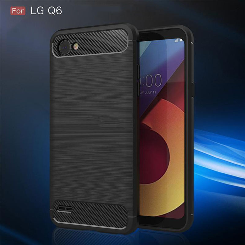 Carbon Fiber Textured Silicone For LG Q6 Case Men's Business Style 5.5'' For LG Q 6 LGQ6 G6 Mini Cell Phone Back Cover Cases