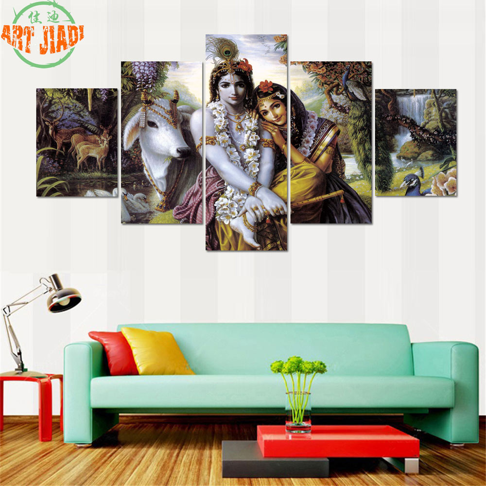 4 piece set or 5 piece set canvas art shiva parvati ganesha lord krishna canvas painting. Black Bedroom Furniture Sets. Home Design Ideas