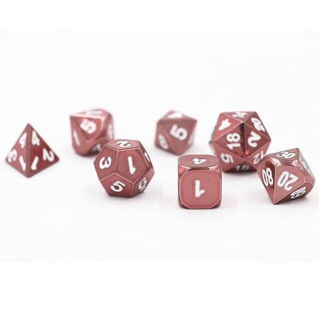 Подземелья и Драконы 7 шт./компл. Творческий RPG кости D & D металла, кости DND игра в кости электрофореза розовый D4 D6 D8 D10 D12 D20