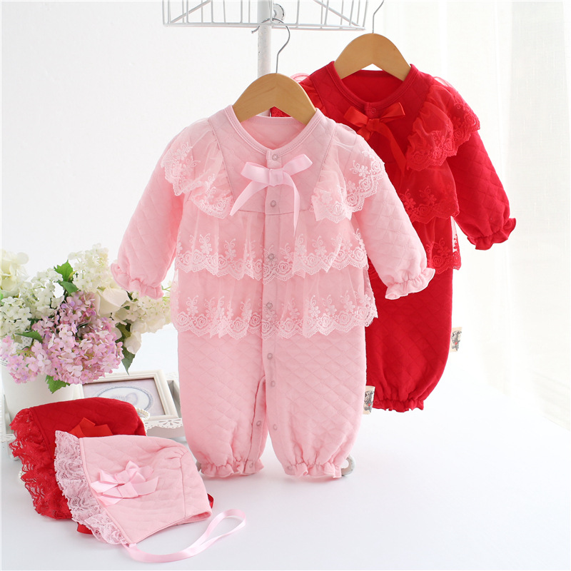Autumn Winter Baby Girl Rompers Lace Infant Jumpsuit Thicken Coveralls Baby Girl Clothes Newborn Princess Pajamas +Baby Hats newborn baby girl clothes air cotton winter thicken coveralls rompers princess lace infant girls clothing set jumpsuit hats
