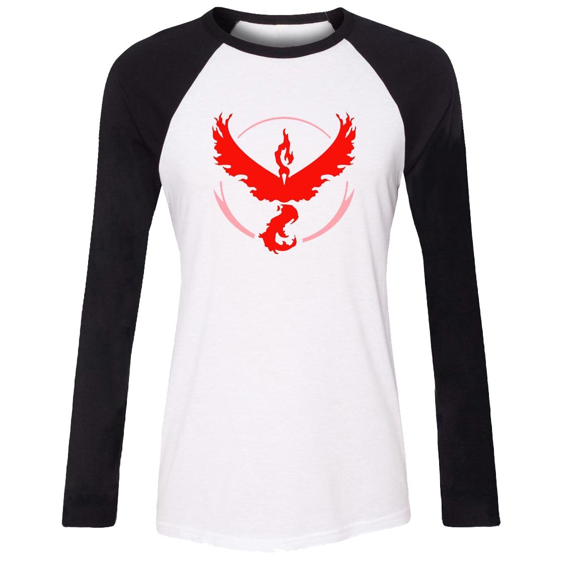 iDzn Women T-shirt Pokemon Go Game Fans Moltres Team Red Team Pattern Raglan Long Sleeve Girl T shirt print Lady Tee Tops