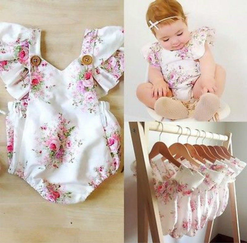 2018 New Cute Floral Baby Romper Newborn Infant Baby Girls Summer V-neck Ruffles Jumpsuit Toddler Kids Outfits Princess Sunsuit one pieces cute newborn infant baby girls sleeveless black floral romper outfits summer sunsuit clothes