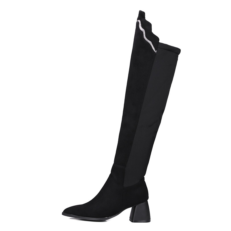 New Plus 48 Chaussures La Black Sur De Épais Femmes Tissu Taille red Femme Bottes Couture Soirée Slim Talon Démarrage 32 Le Genou tQdshrCx