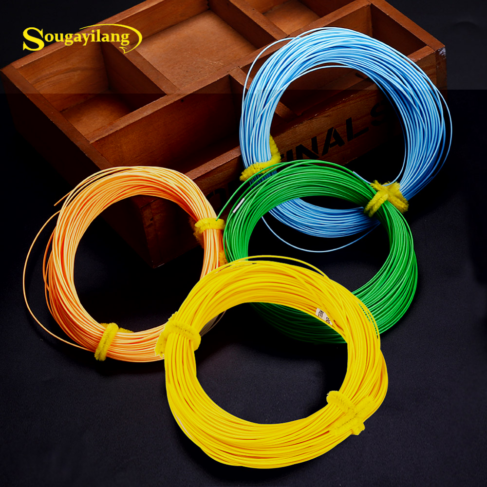 Sougayilang 4F 5F 6F 7F 8F Fly Line 100FT kaal edasi Nymph Floating Fly Fishing Line 4 värvi polüetüleenist Fly Fishing Cord