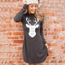 Women Dress Deer Elk Print Christmas Mini Dresses Autumn Winter Robe Femme Veditos WS4411V