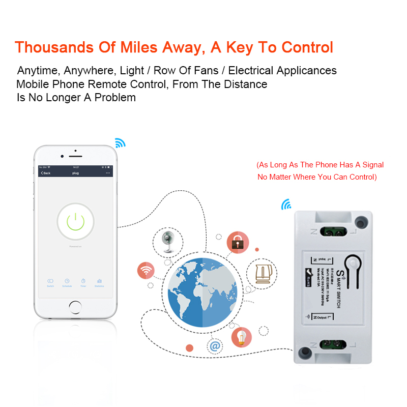 QIACHIP 433Mhz RF Relay Module Smart Home Wifi Wireless Automation Timer Remote Controll Switch AC 90 250V 220V 10A Light Diy in Remote Controls from Consumer Electronics