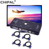 CHIPAL-adaptador divisor VGA para impresora, 4 puertos, USB 2,0, KVM, 1920x1440, 4 Uds. De Cables para teclado, ratón y Monitor