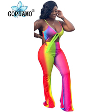 Rainbow Tie Dye Rompers Womens Jumpsuit Sexy Spaghetti Strap Backless Bodycon Bodysuit Summer V Neck Sleeveless Cut Out Overalls army green v neck cut out self tie playsuit
