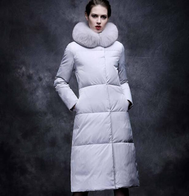2015 Parka chaqueta de invierno cuello de piel de invierno Coat mujeres Long Parka engrosamiento de algodón mujeres larga de la chaqueta BL790