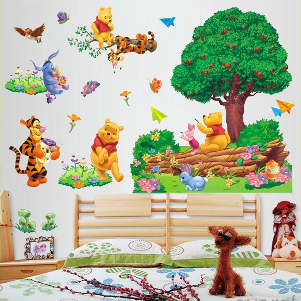 Large Cartoon Winnie The Pooh Wall Sticker Art Vinyl Decals Nursery  Decor(China (Mainland