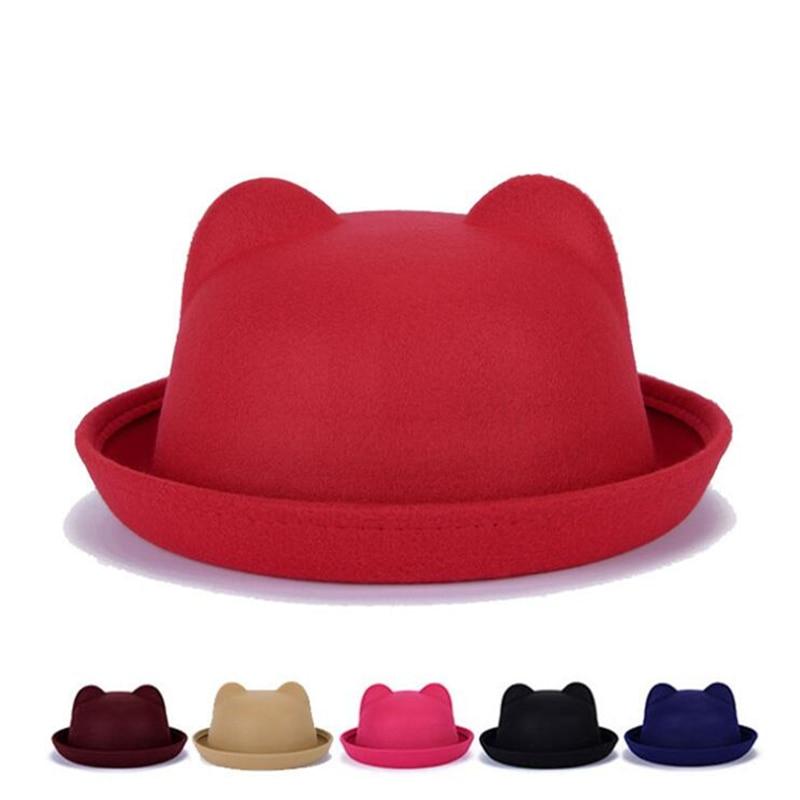 Fashion Pop Girls Fedora Hat Dome Kitten Ears Cap Children Dress Hats Kids Caps Felt Hats Wool Felting Bowler Hat Bonnet Enfant