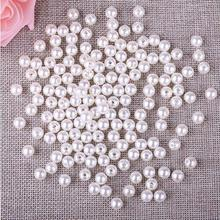 8MM Ivory Imitation Pearl Two Round Hole 200pcs/Lot Bright Beads For Jewelry Making Gifts Cheap Wholesale