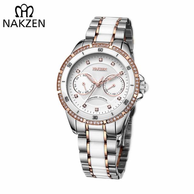 3729ac7729f6 NAKZEN Women Fashion Ceramic Quartz Watch Ladies Casual Dress Diamond  Watches Luxury Brand Wristwatches Feminino Montre