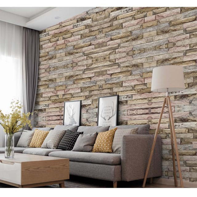 Modern 3d Wall Paper Home Decor Vintage Rustic Brick Wallpaper Roll