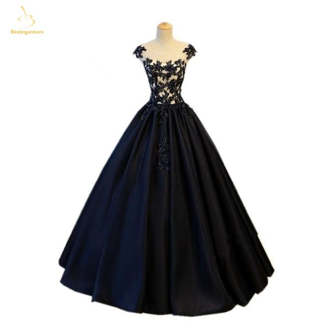 Bealegantom New 2018 Black Appliques Ball Gown Quinceanera Dresses Hollow Back Debutante Sweet 16 Party Dress QA1486