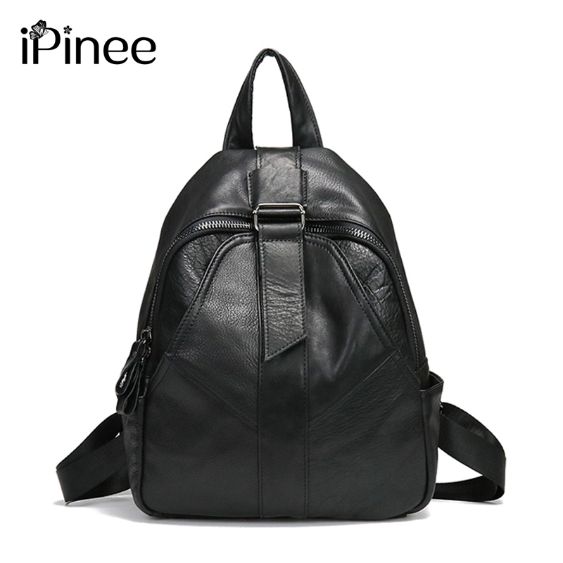 iPinee Women Cow Leather Backpack Soft Genuine Leather School Bags For Ladies High Quality Travel Bags hahmes high quality genuine leather women s backpack simple design casual daypacks travel bags cow leather school bag 10948