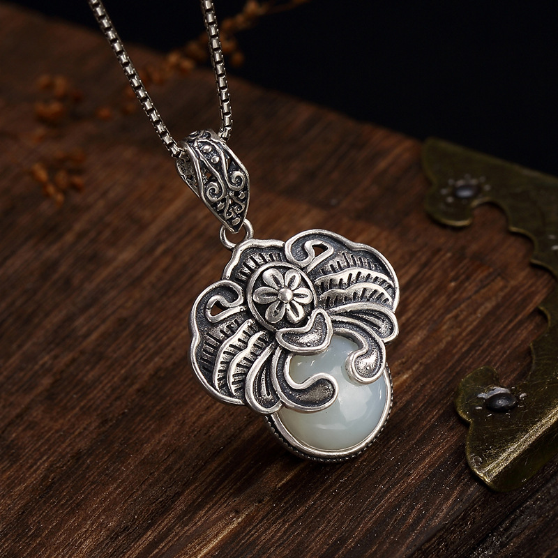Retro Handmade Real 925 Sterling Silver Pendant Necklace For Women Vintage Natural J Necklace Elegant Jewelry For WeddingRetro Handmade Real 925 Sterling Silver Pendant Necklace For Women Vintage Natural J Necklace Elegant Jewelry For Wedding