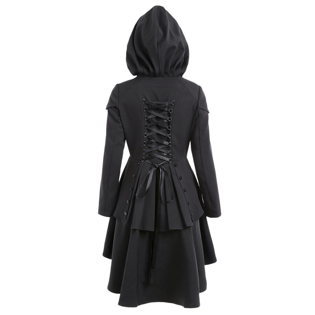 LANGSTAR 2017 New Autumn Coat Women Layered Lace Up High Low Hooded Coat Gothic High Waist Fall Outer Wear Female Coat