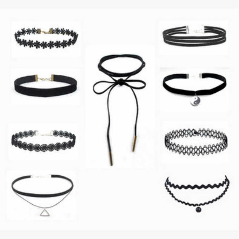 10Pcs/set Sexy Black Gothic Punk Velvet Tattoo Lace Choker Necklace Long Pendant Jewelry Women Collar Chocker Wholesale