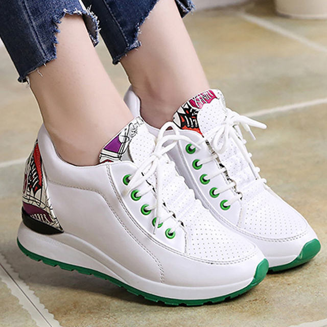 Women Wedge Casual Sports Shoes Lace up White Athletic Korean Fashion Breathable