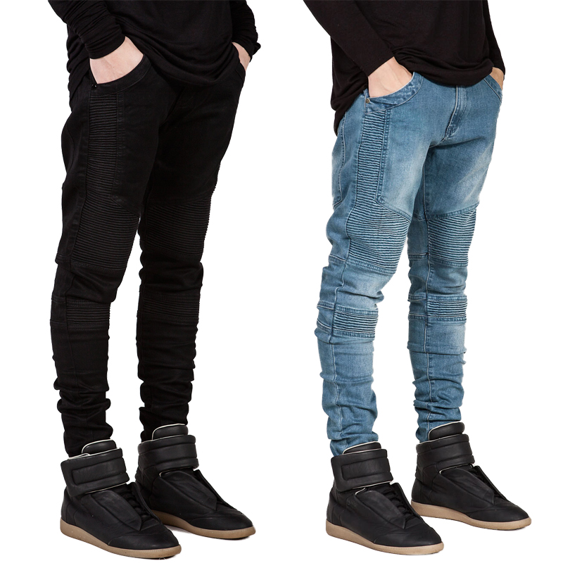 Fashion NEW Wrinkled jeans 1Pcs Stretch trousers Mens jeans