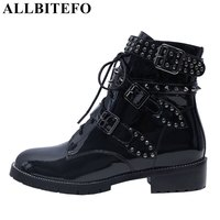 ALLBITEFO Large Size 33 43 Patent Leather Low Heeled Women Boots Fashion Brand Rivets Buckle Martin