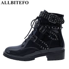 ALLBITEFO large size:33-43 Patent leather low-heeled women boots fashion brand rivets buckle martin boots ankle boots woman 2019 handmade genuine leather shoes woman 5cm thick heels women boots martin boots fashion rivets ankle boots large size 42