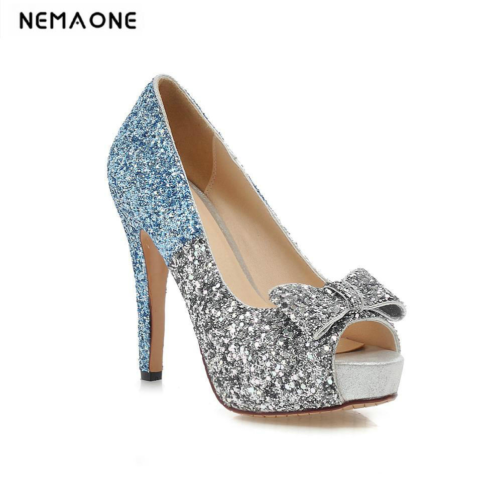 Size 34-43 new platform high heels peep toe women pumps spring summer autumn sexy glitter party shine women shoes woman free shipping black lace peep toe high heels dress pumps 2017 spring summer sexy heels plus size euro 43 platform shoes sandal