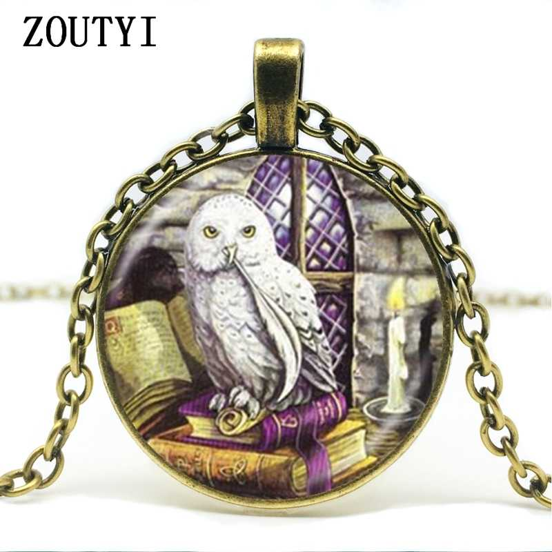 2018/Owl and Book Necklace Wicca Bird Pendant Animal Jewelry Wiccan Necklace Glass Dome Chain Sweater Necklace.
