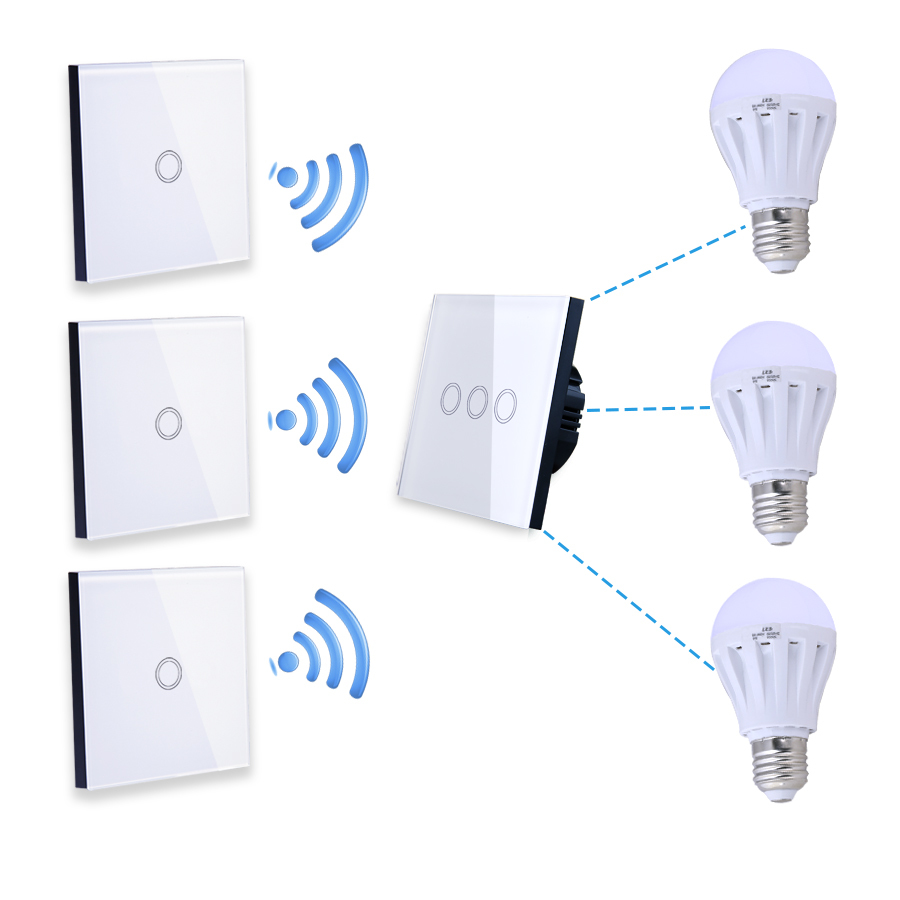 Vhome RF 433MHZ Wireless Glass Panel Lamp Remote Control,Light ...