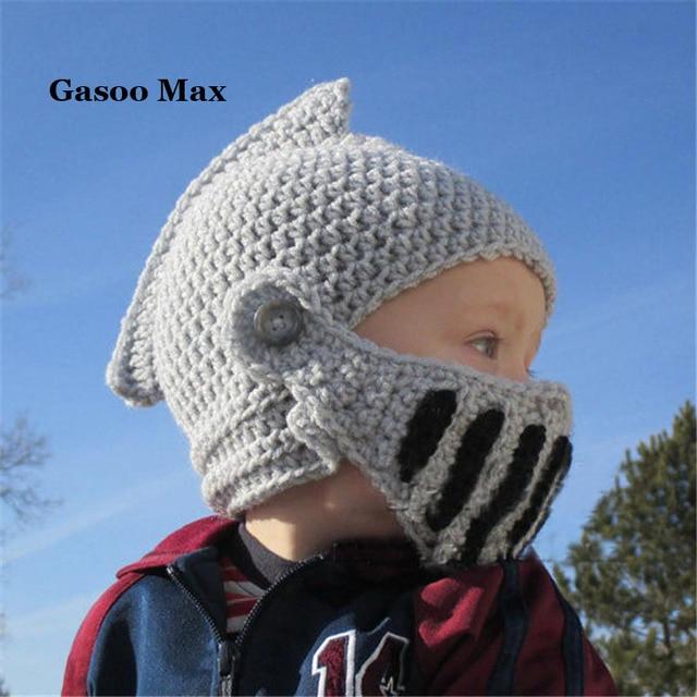 2017 Novelty Children Roman Knight Armor Caps Cool Cute Winter Handmade  Knitted Hats Helmet Baby Boy Girl Crocheted Beanies 7ad62bd488c