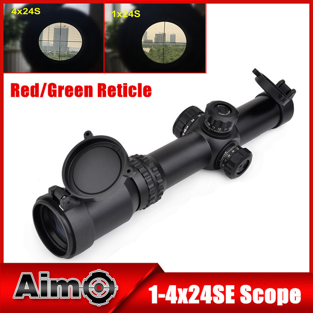 AIM O 1-4x24SE Tactical Lightweight Optical Riflescopes Long Eye Relief Rifle Scopes Airsoft Sniper Optics Hunting Scopes AO3044