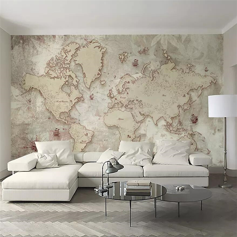 beibehang Custom Wallpaper 3d Photo Mural Vintage Style Old American Nordic World Map TV Background Wallpaper 3d papel de parede beibehang custom papel de parede 3d photo wallpaper living room bathroom floor stickers waterproof self adhesive wallpaper mural