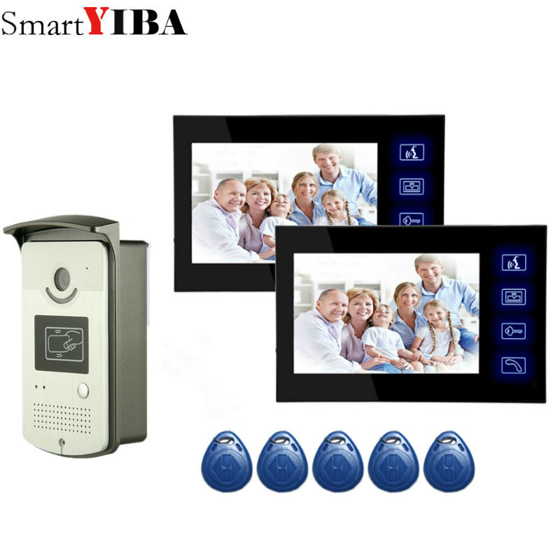 SmartYIBA Touch Panel Wired Household Intercom With Camera RFID Keyfob Access Night Vision Video Doorbell Doorphone For Home